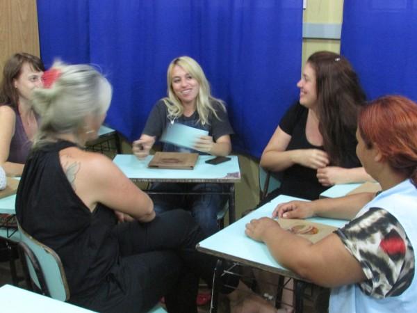 Troca de experiências e histórias entre os professores.